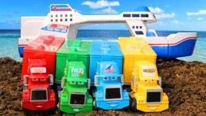 Learn Colors with Cars McQueen and Mack Truck Toys - Transportation Vehicles Crossing the Water