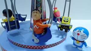 Doraemon,Nobita and Gian play with Swing ride!SpongeBob came!for kids!yupyon
