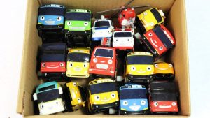 Box Full Of Toys Tayo the Little Bus & Transportation Vehicles - Learn Colors with Tayo Garage