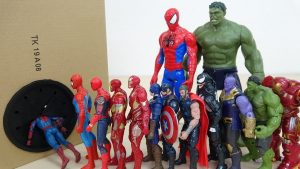 Marvel Avengers Super Heroes Spiderman, Iron Man, Captain America Go into the Takilong's Toy Box
