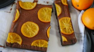 Chocolate Cheesecake Made with Boiled Orange Syrup オレンジチョコレートチーズケーキ