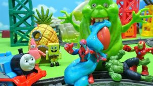Thomas,Iron Man and Hulk help Spiderman full of slime!SpongeBob also escapes!for kids!yupyon