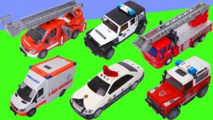 Fire Truck, Excavator, Police Cars, Dump Trucks, Ambulance & Rescue Bruder Emergency Toy Vehicles