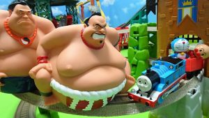 Thomas,Doraemon and Anpanman hit the sumo wrestler on track!Dosukoi Thomas!for kids!yupyon