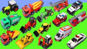Fire Truck, Excavator, Garbage Truck, Dump Truck, Police Cars & Tractor Construction Toy Vehicles