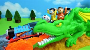 Thomas,Doraemon and Gian escape from the Dragon!fot kids!yupyon