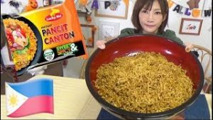 【MUKBANG】 Filipino Famous LUCKY ME! Sweet & Spicy Fried Noodle [Pancit Canton] 12 Serving[3240kcal]