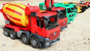 Excavator and Truck, Dump Truck and Concrete Mixer Truck | Construction Vehicles | Car Toys