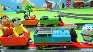 Thomas race!Anpanman team VS Nobita and Gian team!Thomas Trackmaster!yupyon